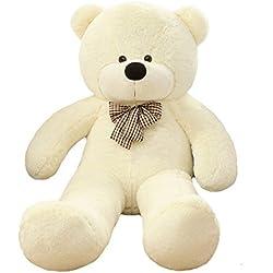 VERCART Juguete Niño Big Teddy Bear Sonriendo 47 pulgadas Oso de peluche gigante Oso Teddy Bear Regalo de cumpleaños Primera edad Adolescente Doudou para Niño Niña Blanco 120CM