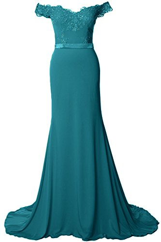 MACloth Off the Shoulder Long Prom Dress Gorgeous Jersey Evening Formal Gown Teal