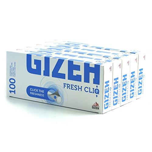 gizeh Tubetti con Filtro, al mentolo, 5 Confezioni da 100