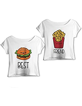 Babloo Coppia di T-Shirt Top Estive You and Me Best Friend Hamburger e Patatine
