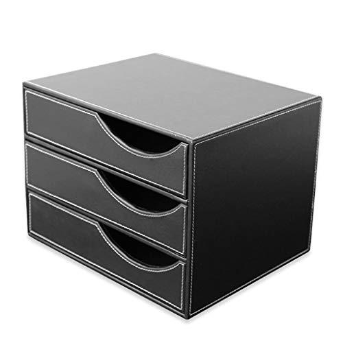 Drei-Ebenen-Schublade Datei Lagerschrank, Leder-Datei-Halter/Datei Korb/Ordner / Magazin Organizer/Storage Box/Datei-Manager (Color : Black, Größe : A) -