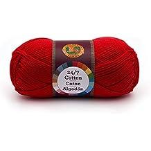 Lion Brand Yarn Company Lion Brand 761-113 24-7 Cotton Yarn, Red, 100%, 15.24x6.35x6.35 cm