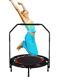 Nakital Erwachsene Trampolin Faltbare, 40-Zoll Indoor Trampolin mit Haltegriff, Ideal für Fitness Heimtraining