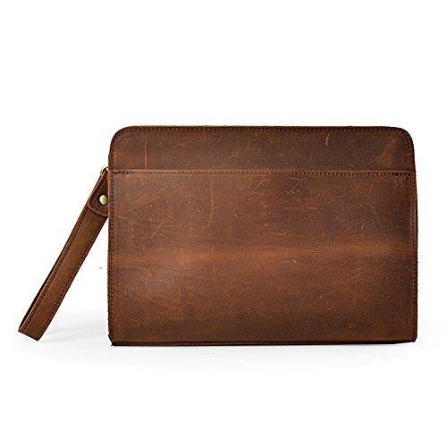 Herrenbrieftasche aus Leder Herren Leder Geldbörse Herren Geldbörse Herren Aktentasche Umschläge Handgelenk Taschen Business Casual Clutch Bag Herren Business Casual Geldbörse (Color : Brown)