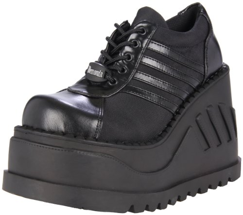 DemoniaDemonia Stomp-08 - Scarpe Basse Stringate Donna , Nero (Schwarz (Schwarz (Blk Vegan Leather))), 38