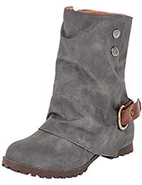 ALIKEEY Moda Caliente Corto Botas De Cuero Hebilla De Cuero Artificial Patchwork Zapatos De Las Mujeres Delta Goretex
