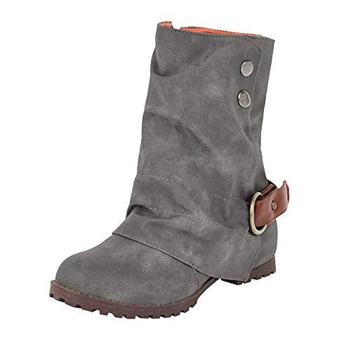 Geili Damen Halbschaft Stiefel Kunstleder Stiefeletten Flache Boots Warme Gefüttert Wasserdicht Winterstiefel Stylische Übergrößen Outdoor Lederstiefel (Braune Slouch-stiefel Frauen)
