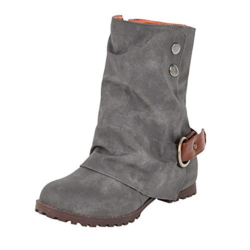 ‿ Loveso Mode Schuhe Damen,Räumungsverkauf,Mode Kunstleder Low-Heels Mid-Tube Damen Stiefel...