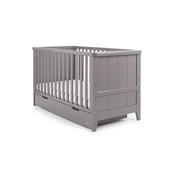 Obaby Belton Cot Bed, Taupe Grey Obaby Adjustable 3 position mattress height Bed ends split to transforms into toddler bed Includes matching under drawer for storage 1
