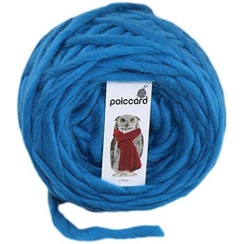 Ovillo de gruesa lana del Perú Bulky 100G azul de pluma de pavo real