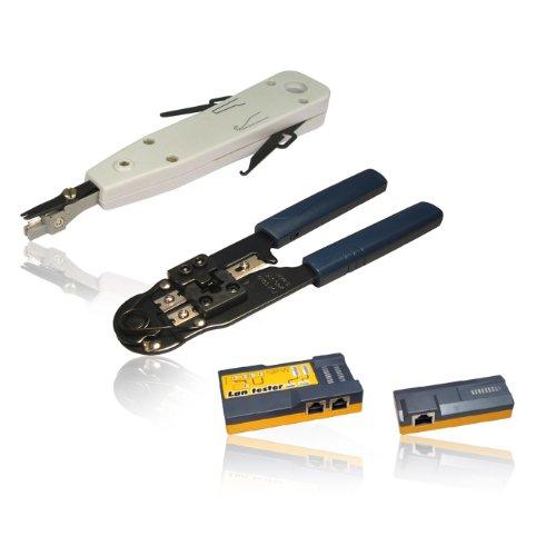 CDL Micro Eindrückwerkzeug / Crimpzange für RJ45-Stecker und Netzwerk-Kabeltester im Set