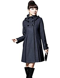 Jitong Mujer Abrigo Larga de Capa Chaqueta con Capucha Slim Fit Jacket Coat Outwear