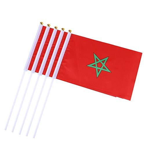 10PCS / Packung Marokko Hand Waving Flags Mini Nationalflagge Hand 14 gehaltene * 21CM Dekor für Büro-Schreibtisch-Garten Parades Bar Schule Sport Veranstaltungen Festival Feste ()