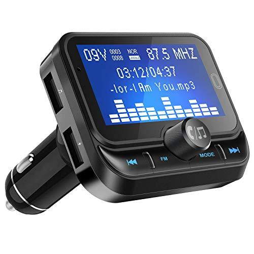 Bluetooth FM Transmitter, ULYCOOL Wireless Auto Radio Adapter Freisprecheinrichtung Car Kit mit USB Auto-Ladegeräte, 3.5mm AUX und Micro SDHC-Karten-Slot für iPhone Android, 1.8 Zoll LED Bildschirm (Auto Radio Mit Einem Kit)