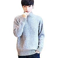 Byqny Hombre Elegante Espesar Camisa Inferior Cuello Alto Suéter de Punto Estilo Harajuku Sweater Manga Larga