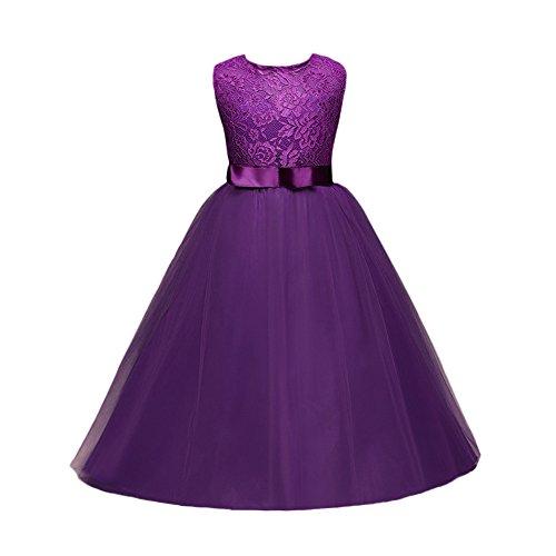 henkleid Kinder Tüll Prinzessin Kleid Weihnachten Ärmellos mit Hochzeit Kleid Blumen Tüll Bogen Kleid Lonshell (12T, Violett) (Tüll-shop)