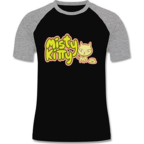 Katzen - Misty Kitty - zweifarbiges Baseballshirt für Männer Schwarz/Grau Meliert