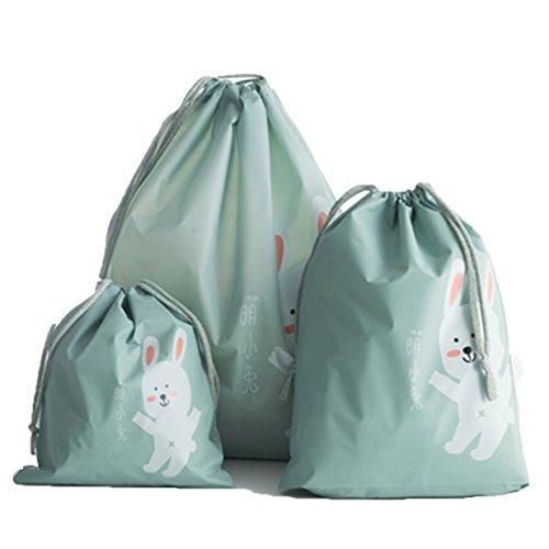 Lalang 3 Stück Verschiedene Größen Reise Aufbewahrungsbeutel Kleiderbeutel für Kleider, Kissen, Bettwäsche, Gepäckaufbewahrungstasche Bekleidung Beutel mit Kordelzug, Blaues Häschen