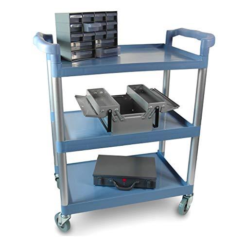 Multifunktionaler Rollwagen Küchenwagen für Transport und Lagerung mit drei Ebenen, zwei Griffen und Gummirollen - stabil und robust