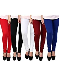 Super Weston Women's Cotton Lycra 4 Way Stretchable Churidar Leggings Combo (Pack of 5)…