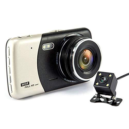 EdBerk74 4-Zoll-IPS-Bildschirm Full HD 170-Grad-Betrachtungswinkel Auto DVR-Monitor 1080P Vorne + Hinten Video-Parkgerät Extrem Weitblick- (Schwarz) Hd Location Recorder
