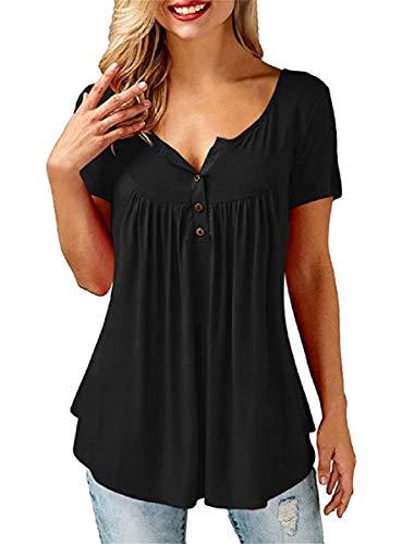 UMIPUBO Bluas de Mujer Camisa Algodón Blusa Mujer Elegante Manga Corta Camisa Suelta Mujer Casual Verano Shirts (XL, Negro)