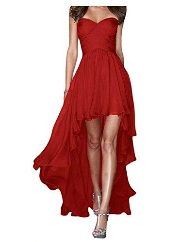 JAEDEN Senza spalline Lungo Abiti da ballo Hi-Lo Chiffon Vestito da festa Abiti da damigella Rosso