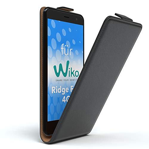 EAZY CASE WIKO Ridge Fab 4G Hülle Flip Cover zum Aufklappen Handyhülle aufklappbar, Schutzhülle, Flipcover, Flipcase, Flipstyle Case vertikal klappbar, aus Kunstleder, Schwarz