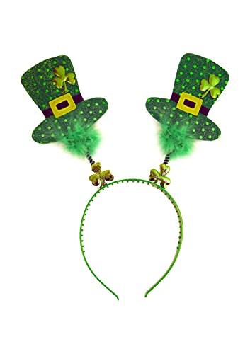 St Patrick's Day Irish Shamrock Wiggly Mini Top Hat Headband