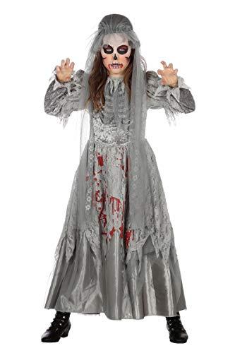 orror Kostüm Kleid Brautkostüm Zombie Grau Halloween Mädchen 116-176 Grau/Rot 140/152 (10-12 Jahre) ()
