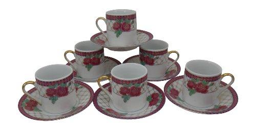 Floral Demitasse (Holsted House Demitasse mit Untertasse, rosa Rosenmuster mit Goldverzierung, Porzellan Espresso fein Pink, Gold, Dusty Rose, Blue, White, Green)