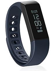 Pulsera de actividad y sueño inalámbrica Shonco Muñequeras Monitor de Actividad Smart Wristband Fitness Tracker Pulseras de fitness y Bluetooth con Pantalla táctil Impermeable Monitor de Dormir Podómetro Monitor de Calorías Para Android 4.3 o superior y IOS 7.0 o superior (Azul)