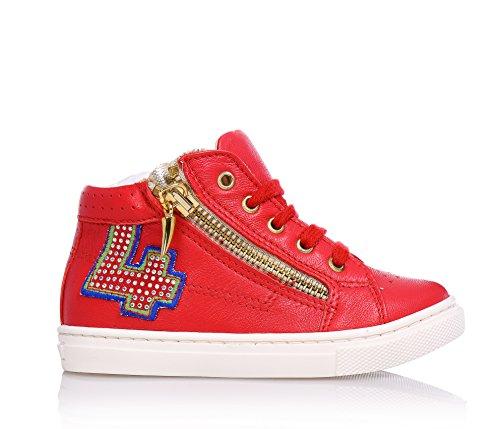 FLORENS - Sneaker rossa stringata in pelle, con chiusura a zip laterale con pendente in metallo, decorazione laterale con strass, Bambina, Ragazza-25