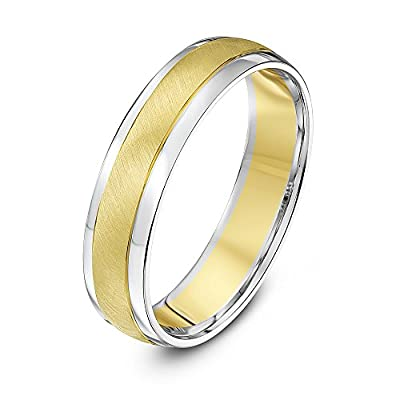 Theia Two Colours 9ct White Gold Sides with Yellow Gold Matt Centre Court Shape 5mm Wedding Ring - Size K