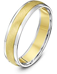 Theia Two Colours 9 ct White Gold Sides with Yellow Gold Matt Centre/Yellow Gold Sides with White Gold Matt Centre Court Shape 5 mm Wedding Ring