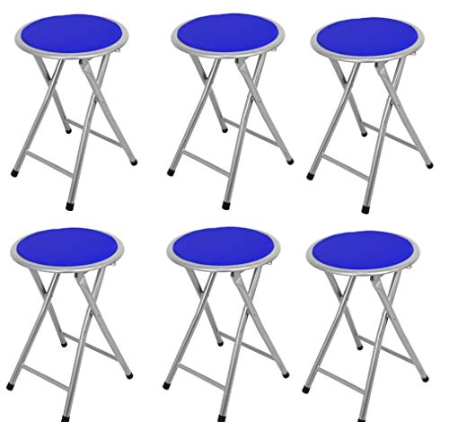 La Silla Española Palma Pack de Taburetes Plegables Acolchados, Aluminio, Azul, 30x30x45 cm