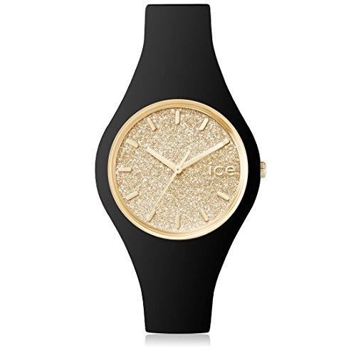 Ice-Watch - ICE glitter Black Gold - Schwarze Damenuhr mit Silikonarmband