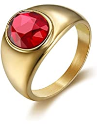 54de05e554095 BOBIJOO Jewelry - Bague Chevalière Gipsy Discrète Homme Femme Ovale Acier  Doré Or Fin Plaqué Rubis