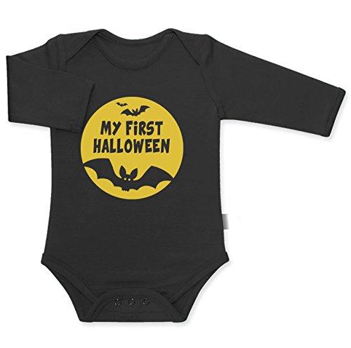 My First Halloween - Mond und Fledermäuse Baby Langarm Body 18M Schwarz