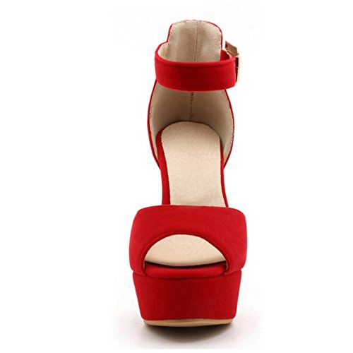 TAOFFEN Damen Fashion Peep-toe Blockabsatz Sandalen Party Dress Shoes Rot