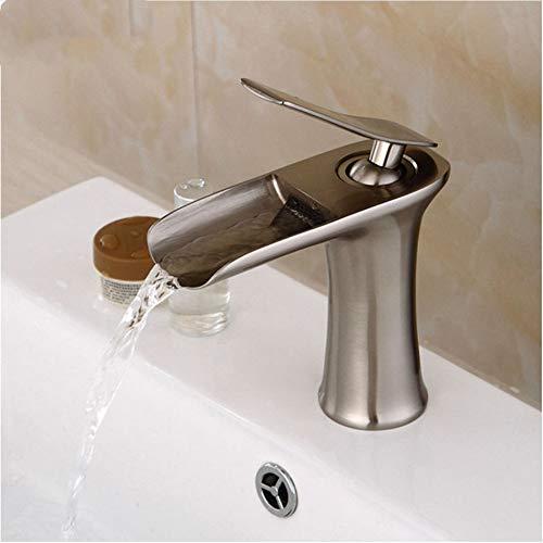 Pinsel Nickel-finish (LLLYZZ Biggers Pinsel Nickel Finish Wasser Fallen Badezimmer Becken Wasserhahn Messing einzigen Griff kaltem Wasser Mischbatterien)