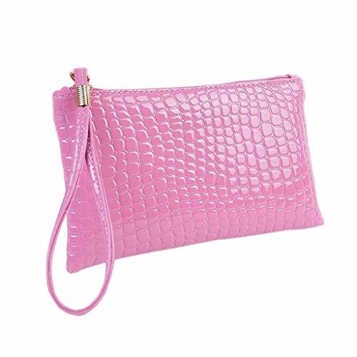 Ularma Bolso de mano, Artificial cocodrilo cuero bolso monedero de la mujer (rosa)