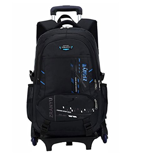 Di Grazia Black 2 in 1 Convertible Removable Waterproof School College Laptop Luggage Backpack Trolley Rolling Bag with Wheels