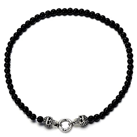 Gothic Style Mens Womens Black Onyx Beads Necklace and Stainless Steel Skull with Black Cubic Zirconia