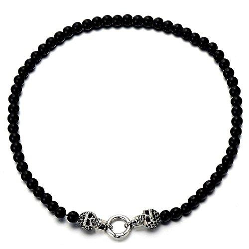 COOLSTEELANDBEYOND Estilo Gótico, Hombre Mujer Collar Cuentas de Ónix Negro, Cráneo Calavera Colgante, Acero con Zirconio Cúbico Negro