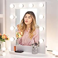 Chende White Hollywood Lighted Makeup Vanity Mirror with Light, Makeup Dressing Table Vanity Set Mirrors (6550 White)