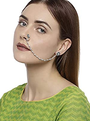 Zaveri Pearls Ethnic Nose Ring for Women (Silver) (ZPFK7411)