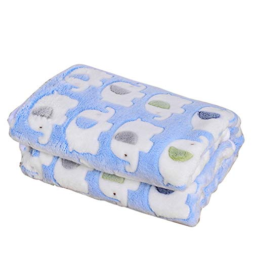 lan Pet Blankets Coral Fleece Cute Elephant Prints Dog Pads Sleeping Bed Cover Mat Blue 110x90cm