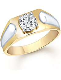 VK Jewels Traditional Gold and Rhodium Plated (CZ) Solitaire Ring - FR1096G [VKFR1096G]