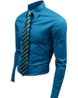 jeansian Homme Chemises Casual Shirt Tops Mode Men Slim Fit 8504